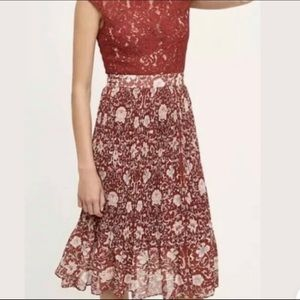 Anthropologie Luella Pleated Midi Floral Dress